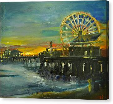 Nighttime Pier Canvas Print by  Lindsay Frost