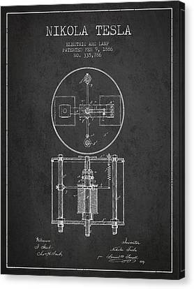 Generators Canvas Print - Nikola Tesla Patent Drawing From 1886 - Dark by Aged Pixel