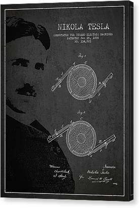 Generators Canvas Print - Nikola Tesla Patent From 1886 by Aged Pixel