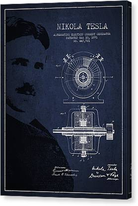 Generators Canvas Print - Nikola Tesla Patent From 1891 by Aged Pixel