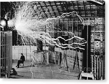 Serbian Canvas Print - Nikola Tesla Serbian-american Inventor by Science Source