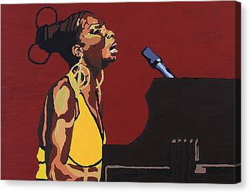 Canvas Print featuring the painting Nina Simone by Rachel Natalie Rawlins
