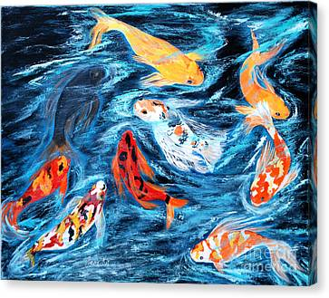 Good  Luck Painting. Nine Koi Fish. Inspirations Collection. Canvas Print