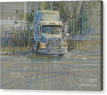 Canvas Print featuring the painting No Trailer by Donald Maier