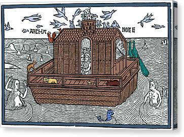 Noahs Ark With Merfolk, 1493 Canvas Print by Photo Researchers