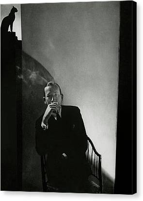 Noel Coward Smoking Canvas Print by Edward Steichen