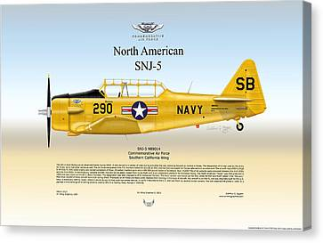 North American Snj-5 Canvas Print by Arthur Eggers