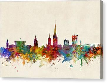 Norfolk Canvas Print - Norwich England Skyline by Michael Tompsett