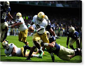 Notre Dame Versus Navy Canvas Print by Mountain Dreams