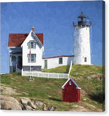 Nubble Lighthouse Maine Painterly Effect Canvas Print by Carol Leigh
