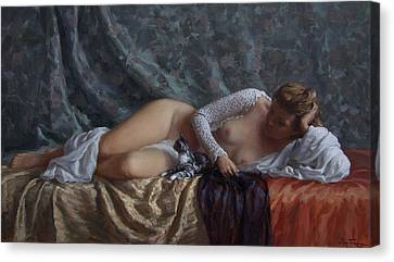 Nude With A Kitten Canvas Print by Korobkin Anatoly