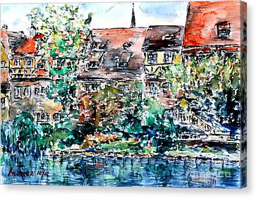 Canvas Print featuring the painting Nuremberg Southern Riverside Of Pegnitz by Alfred Motzer