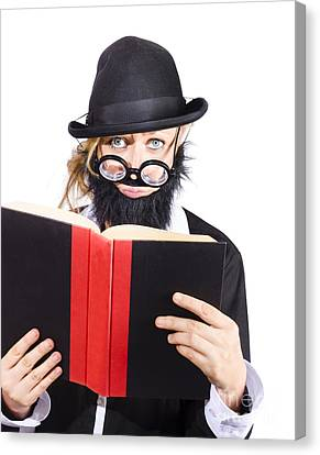 Nutty Scientific Professor Reading Book Canvas Print by Jorgo Photography - Wall Art Gallery