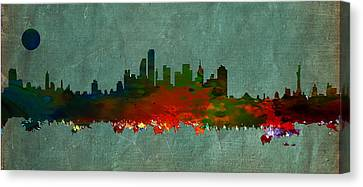 Nyc Skyline Canvas Print by Celestial Images