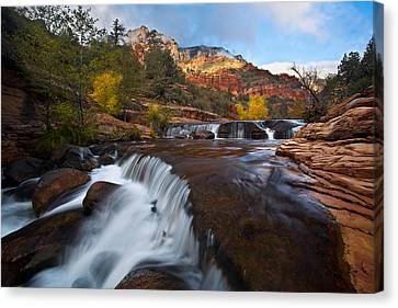 Oak Creek Cascades Canvas Print by Guy Schmickle