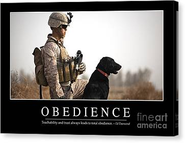 Working Dog Canvas Print - Obedience Inspirational Quote by Stocktrek Images