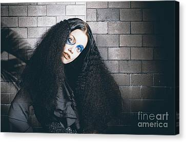 Occult Medieval Performer On Castle Brick Wall Canvas Print