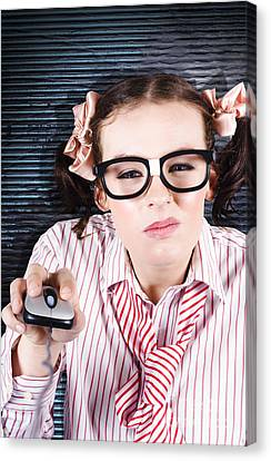 Office It Helpdesk Worker Repairing Computer Canvas Print