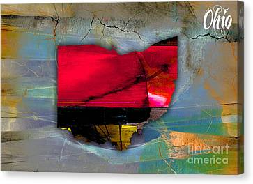 Ohio State Map Watercolor Canvas Print