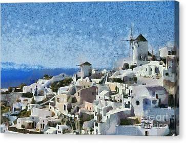 Oia Town Canvas Print by George Atsametakis