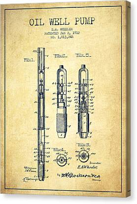 Oil Well Pump Patent From 1912 - Vintage Canvas Print by Aged Pixel