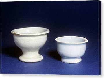 Ceramic Glazes Canvas Print - Ointment Pots by Science Photo Library