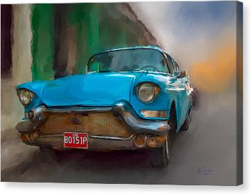 Canvas Print featuring the photograph Old Blue Car by Juan Carlos Ferro Duque