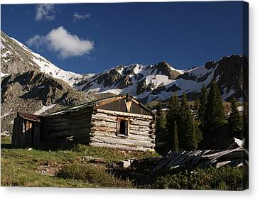 Old Cabin In Rocky Mountains Canvas Print by Michael J Bauer