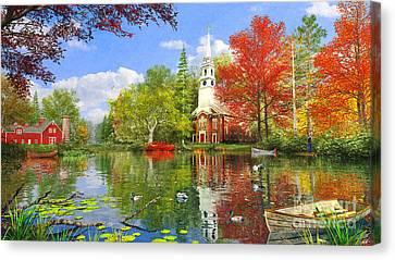 Old Church At Autumn Lake Canvas Print