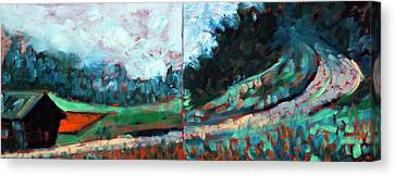 Canvas Print featuring the painting Old Country Road by Walter Fahmy