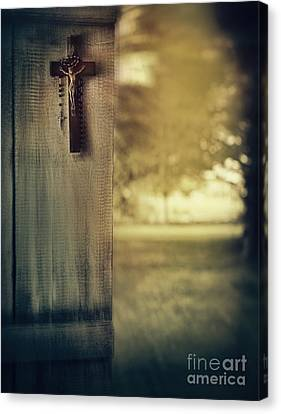 Old Cross Of Window Shutter Door Canvas Print by Sandra Cunningham