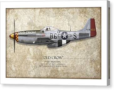 Old Crow P-51 Mustang - Map Background Canvas Print by Craig Tinder