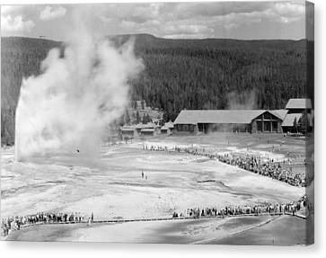 Old Faithful In Yellowstone National Park Canvas Print by Retro Images Archive