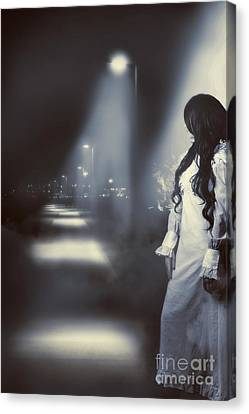Ghostly Canvas Print - Old Fashioned Woman Looking Up The Path Of Mystery by Jorgo Photography - Wall Art Gallery