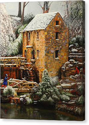 Old Mill In Winter Canvas Print