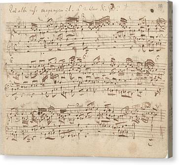 Old Music Notes - Bach Music Sheet Canvas Print by Tilen Hrovatic