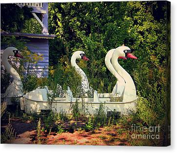 Old Swan Boats In Plaenterwald Berlin Canvas Print by Art Photography