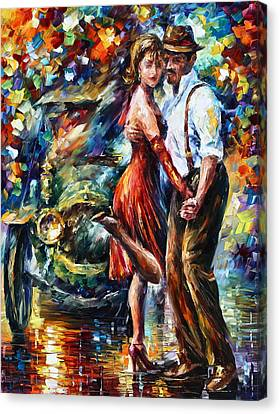 Antique Automobiles Canvas Print - Old Tango by Leonid Afremov