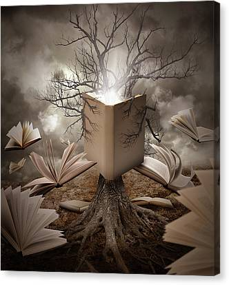 Old Tree Reading Story Book Canvas Print by Angela Waye