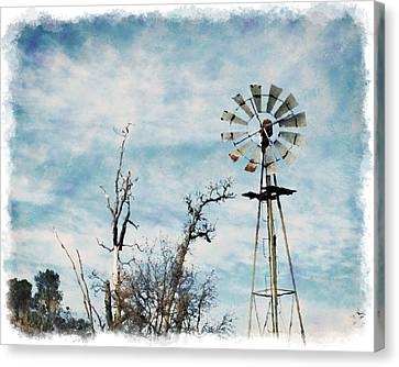 Old West Wind Wheel Canvas Print by William Havle