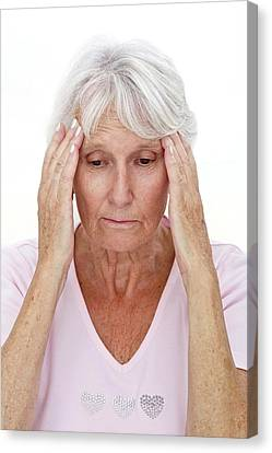 Older Lady With Headache Canvas Print