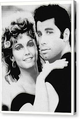 Olivia Newton John And John Travolta In Grease Collage Canvas Print by Tony Rubino