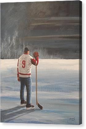 On Frozen Pond - Gordie Canvas Print