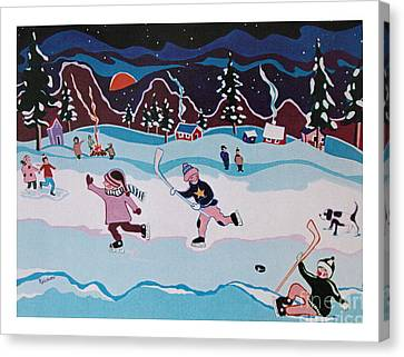 Canvas Print featuring the painting On Frozen Pond by Joyce Gebauer