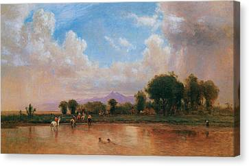 On The Plains Cache La Poudre River Canvas Print by Thomas Worthington Whittredge