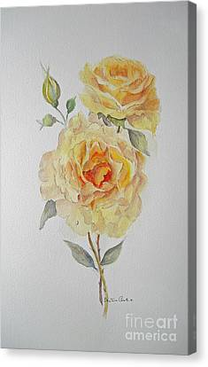 Canvas Print featuring the painting One Rose Or Two by Beatrice Cloake