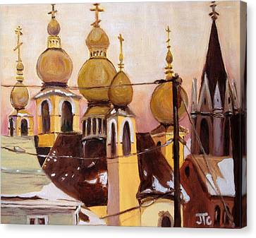 Canvas Print featuring the painting Onion Domes by Julie Todd-Cundiff