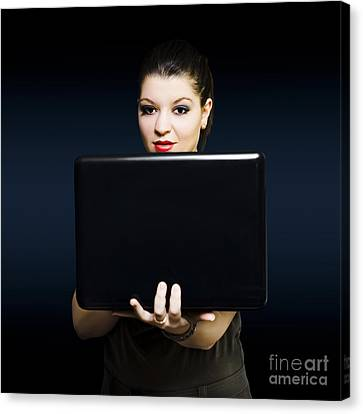 Online Female Business Woman Working On Laptop Canvas Print