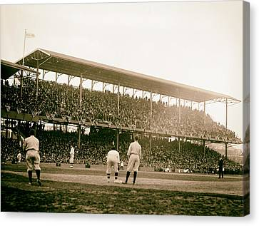 Opening Day At Griffith Stadium - Washington Dc 1922 Canvas Print by Mountain Dreams
