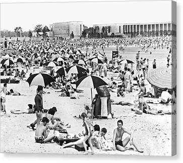 Swim Suit Canvas Print - Orchard Beach In The Bronx by Underwood Archives
